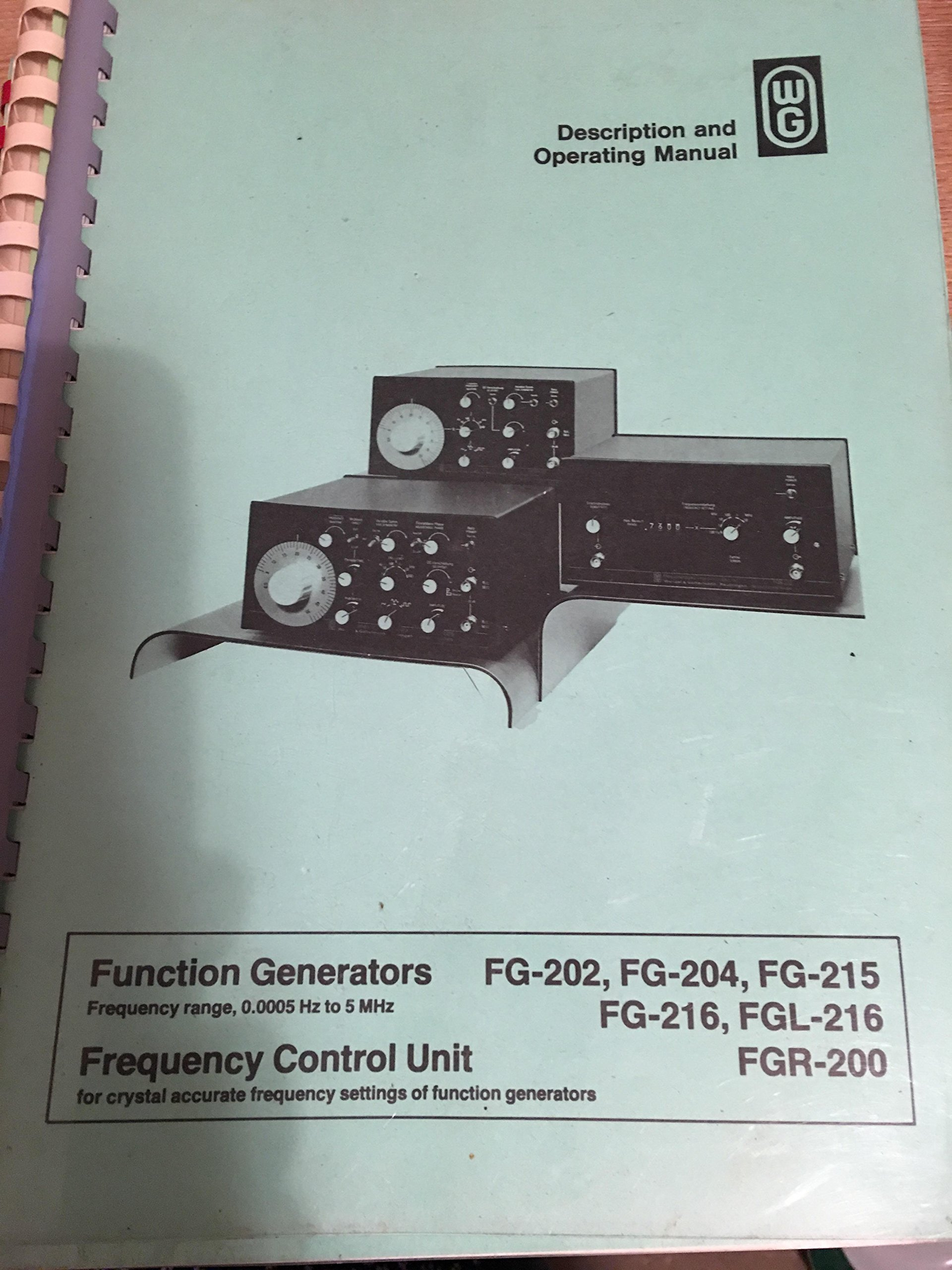 Wg Function Generators Frequency Control Unit Description And Operating Manual Fg 202 204 215 216 Fgl Fgr 200 Wandel