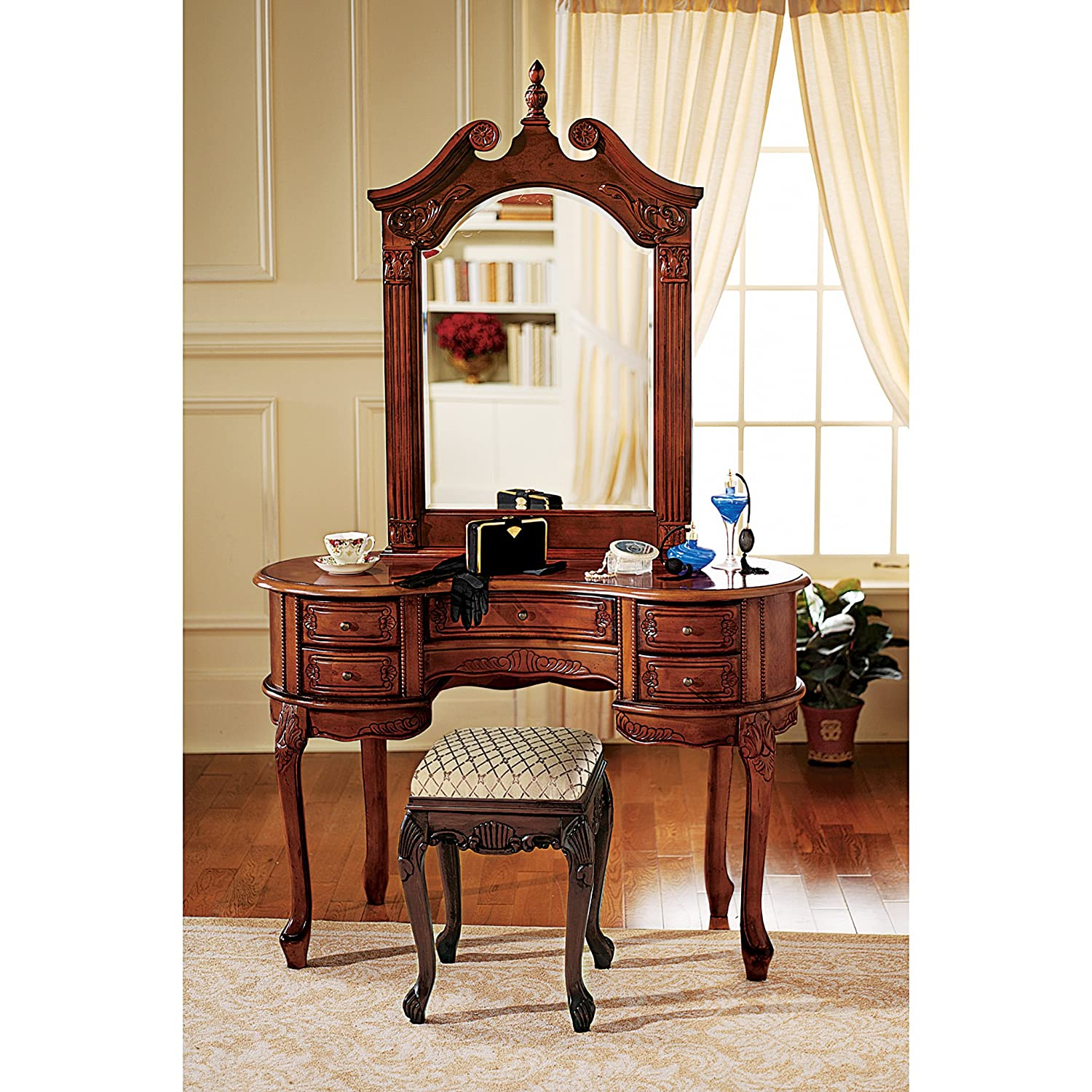 Amazon.com: Design Toscano The Queen Anne Dressing Table And Mirror:  Kitchen U0026 Dining