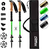 Foxelli Aluminum Trekking Poles – Collapsible, Lightweight, Aluminum 7075 Hiking Poles, Walking & Running Sticks with Natural Cork Grips, Quick Locks, 4 Season/All Terrain Accessories and Carry Bag