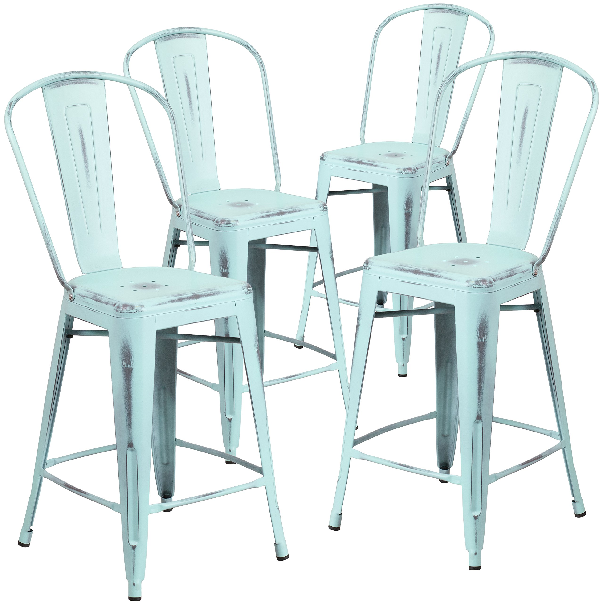 Flash Furniture 4 Pk. 24'' High Distressed Green-Blue Metal Indoor-Outdoor Counter Height Stool with Back by Flash Furniture