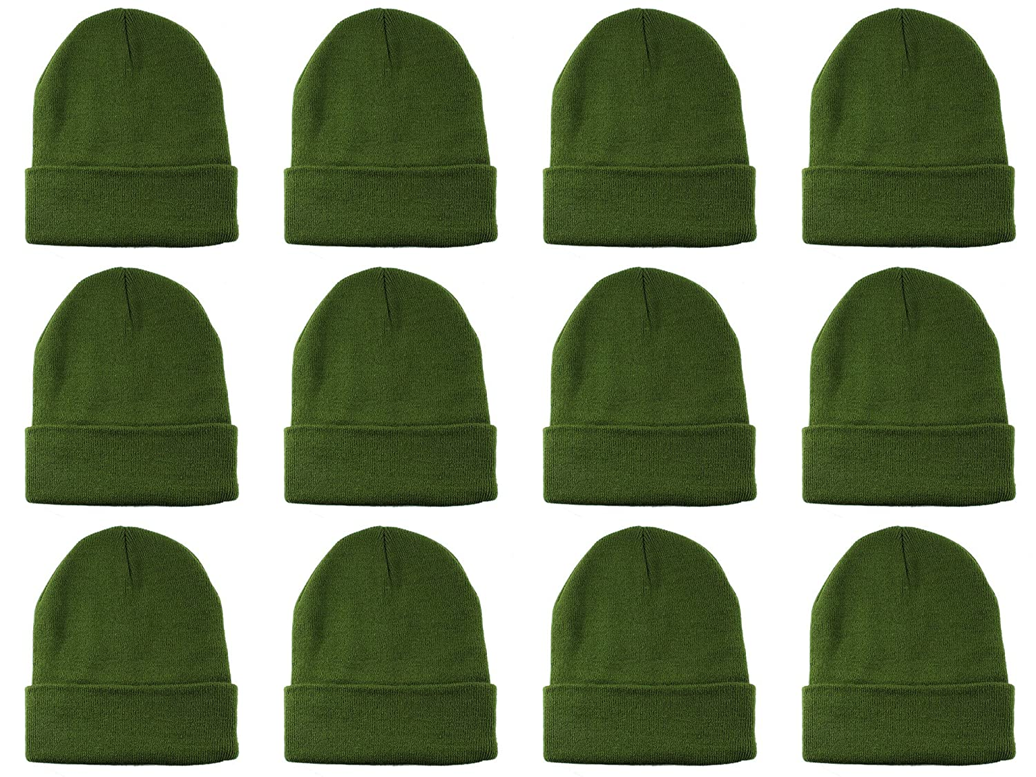 13ff077bbdc4d Gelante Unisex Beanie Cap Knitted Warm Solid Color Multi-Packs (12 Pack   Olive Green) at Amazon Men s Clothing store