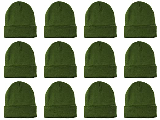 Gelante Unisex Beanie Cap Knitted Warm Solid Color Multi-Packs (12 Pack   Olive c0728554a47