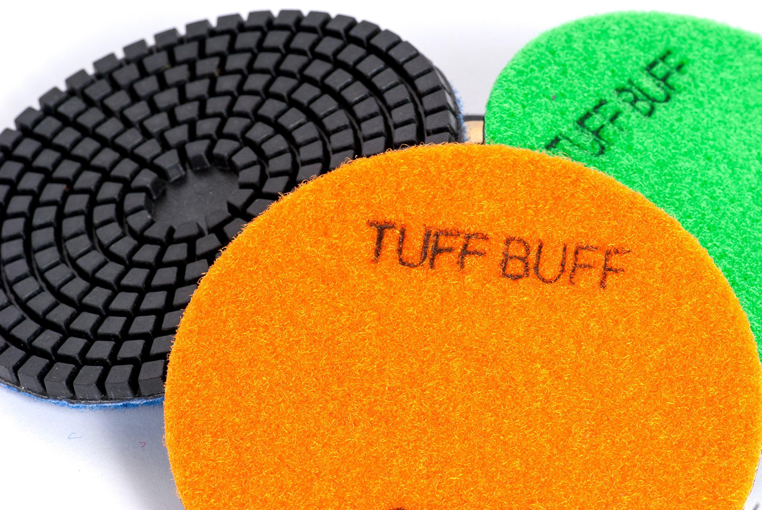 TUFF BUFF - Wet/Dry Diamond Polishing Pads - 11 Piece Set with Rubber Backer for Granite, Stone, Concrete, Marble, Travertine, Terrazzo- 4'' Inch Pads by Tuff Buff (Image #3)