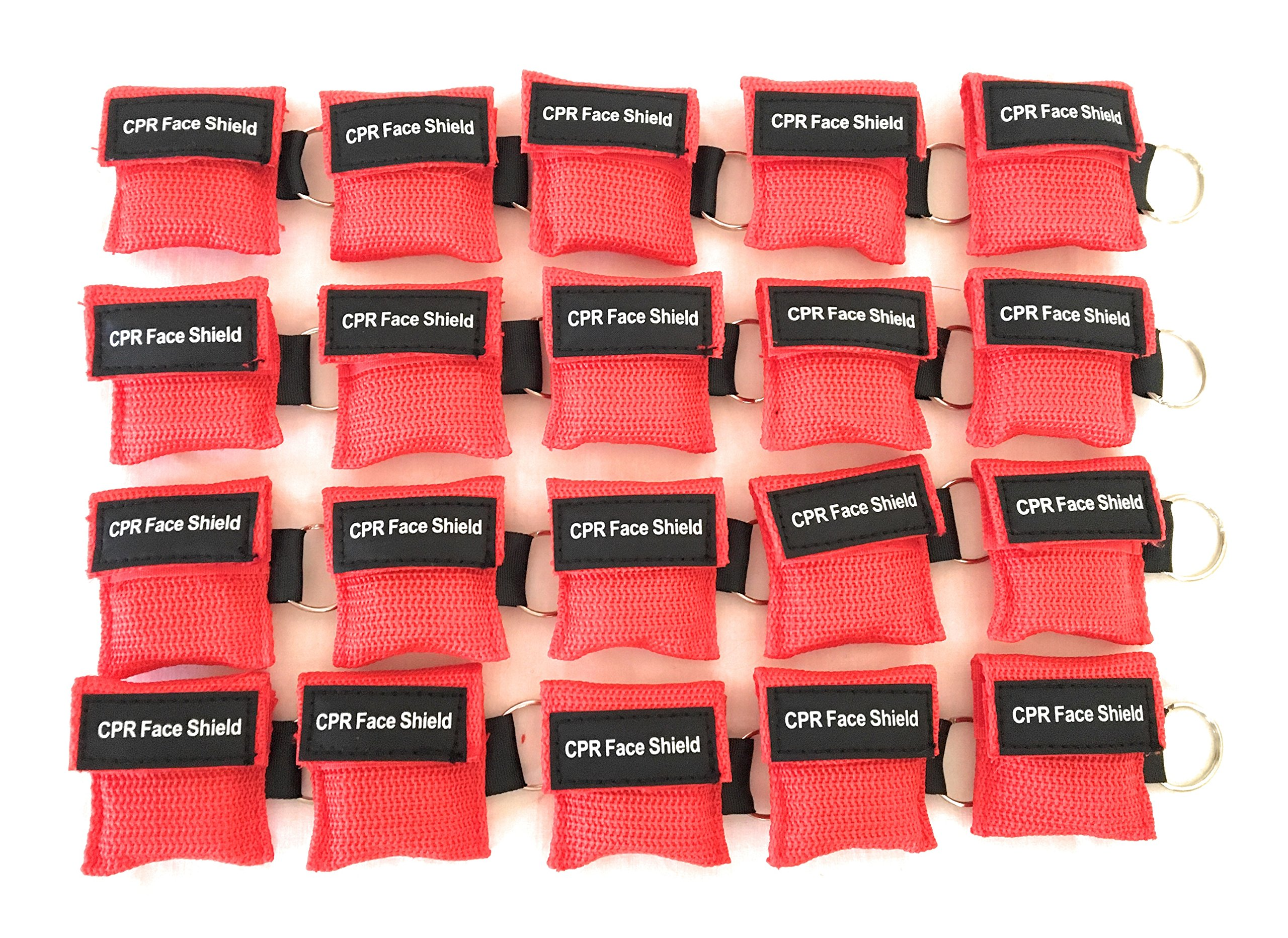20 Pack CPR Keychain Pocket Mask CPR Emergency Face Shield With One-way Valve Breathing Barrier For First Aid Rescue or AED Training By Saving Is Us
