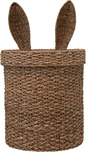 Creative Co-op Hand-Woven Seagrass and Rattan Bunny Ears Lid Baskets, Natural