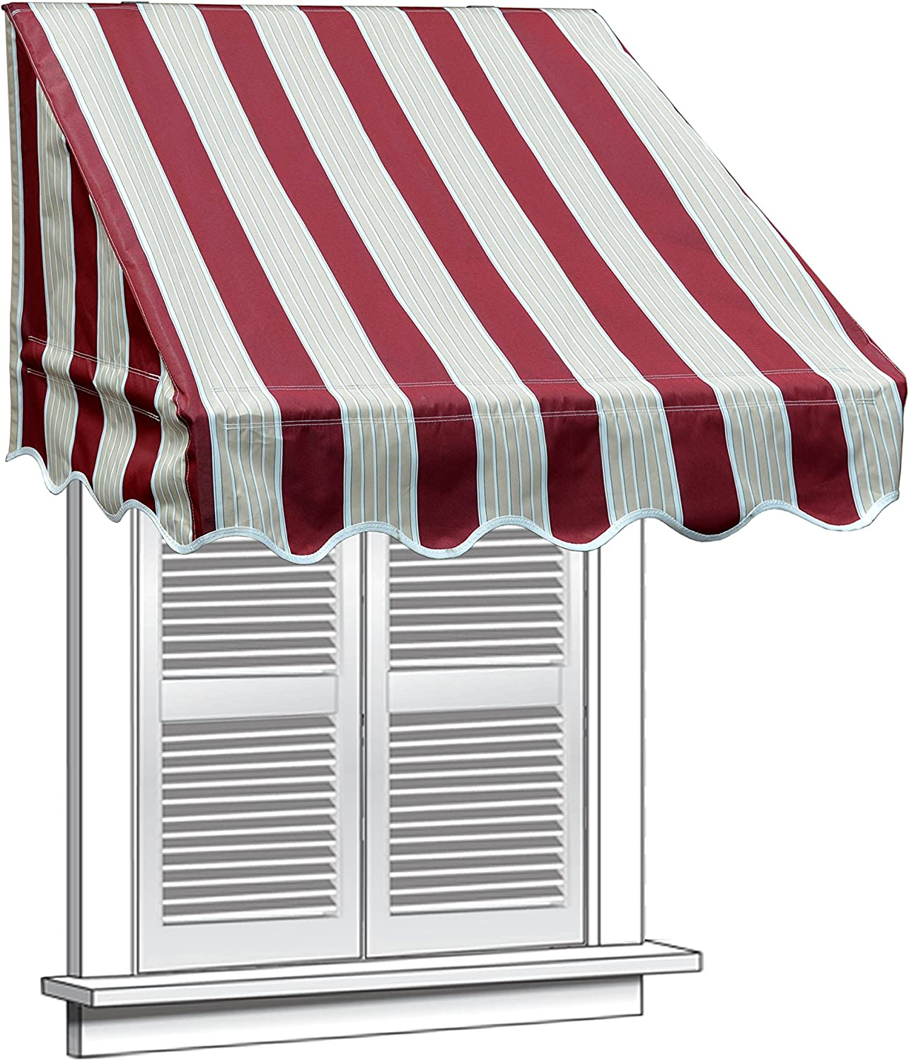 ALEKO WAW4X2MSTRRE19 Window Canopy Awning - 4 x 2 Feet - Multi-Striped Red