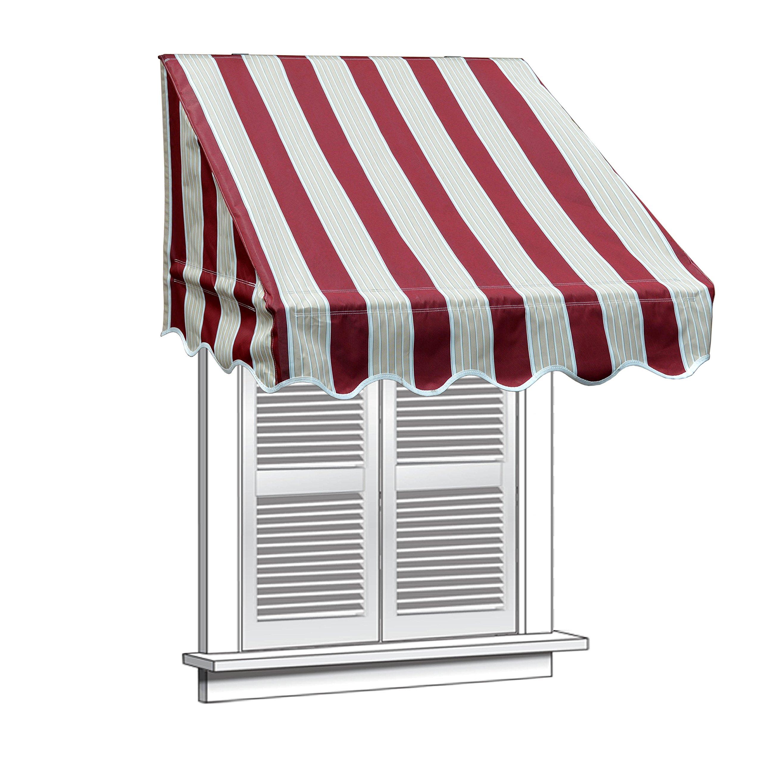 ALEKO WAW4X2MSTRRE19 Window Canopy Awning 4 x 2 Feet Multi-Stripe Red by ALEKO