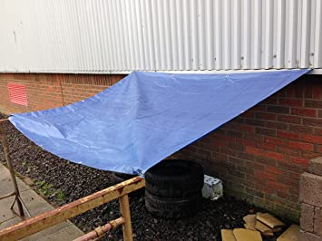 Heavy Duty Blue Tarpaulin Tarp Ground Sheet Waterproof Cover Camping Groundsheet All Sizes From 4 To 24ft 1.2m To 7.3m 24 x 18 ft // 7.3m x 5.5m