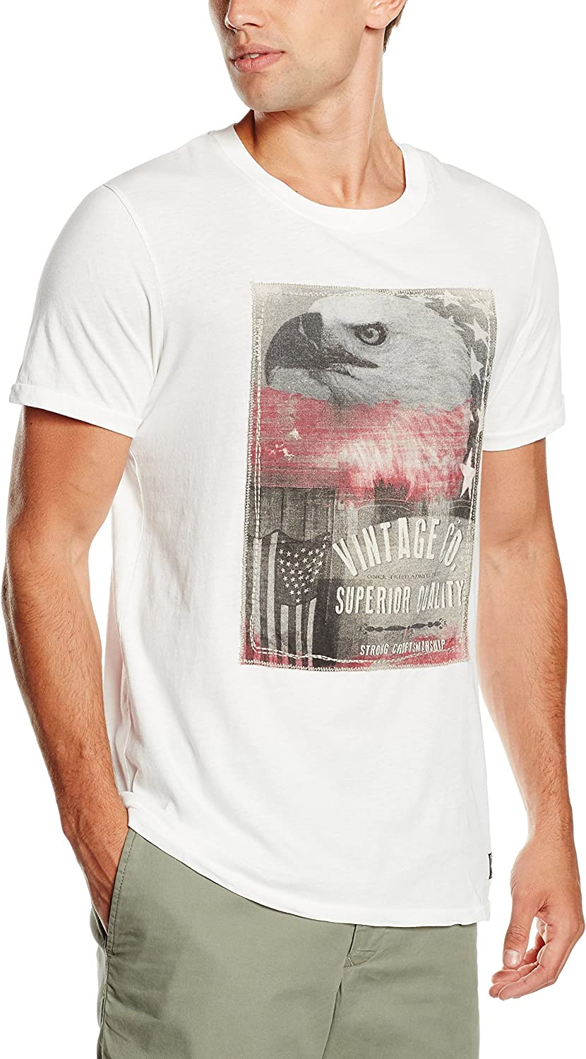JACK & JONES VINTAGE JJVBEN SS TEE CREW NECK - Camiseta Hombre, Blanco (Cloud Dancer Fit:T&S), Small: Amazon.es: Ropa y accesorios