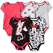 Disney Baby Girls Girl Minnie 5 Pack Bodysuit, Black, 3-6 Months