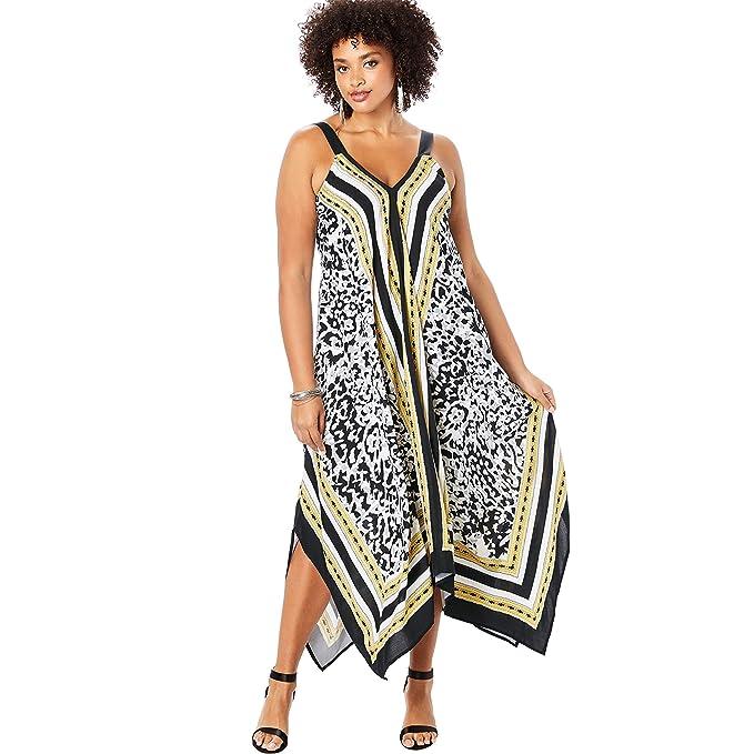 Roamans Women\'s Plus Size Scarf-Print Maxi Dress with Handkerchief Hem