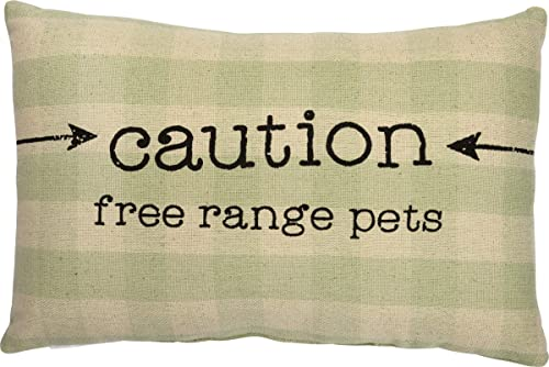 Primitives by Kathy Rustic Throw Pillow, 15 x 10-Inches, Caution Free Rang Pets