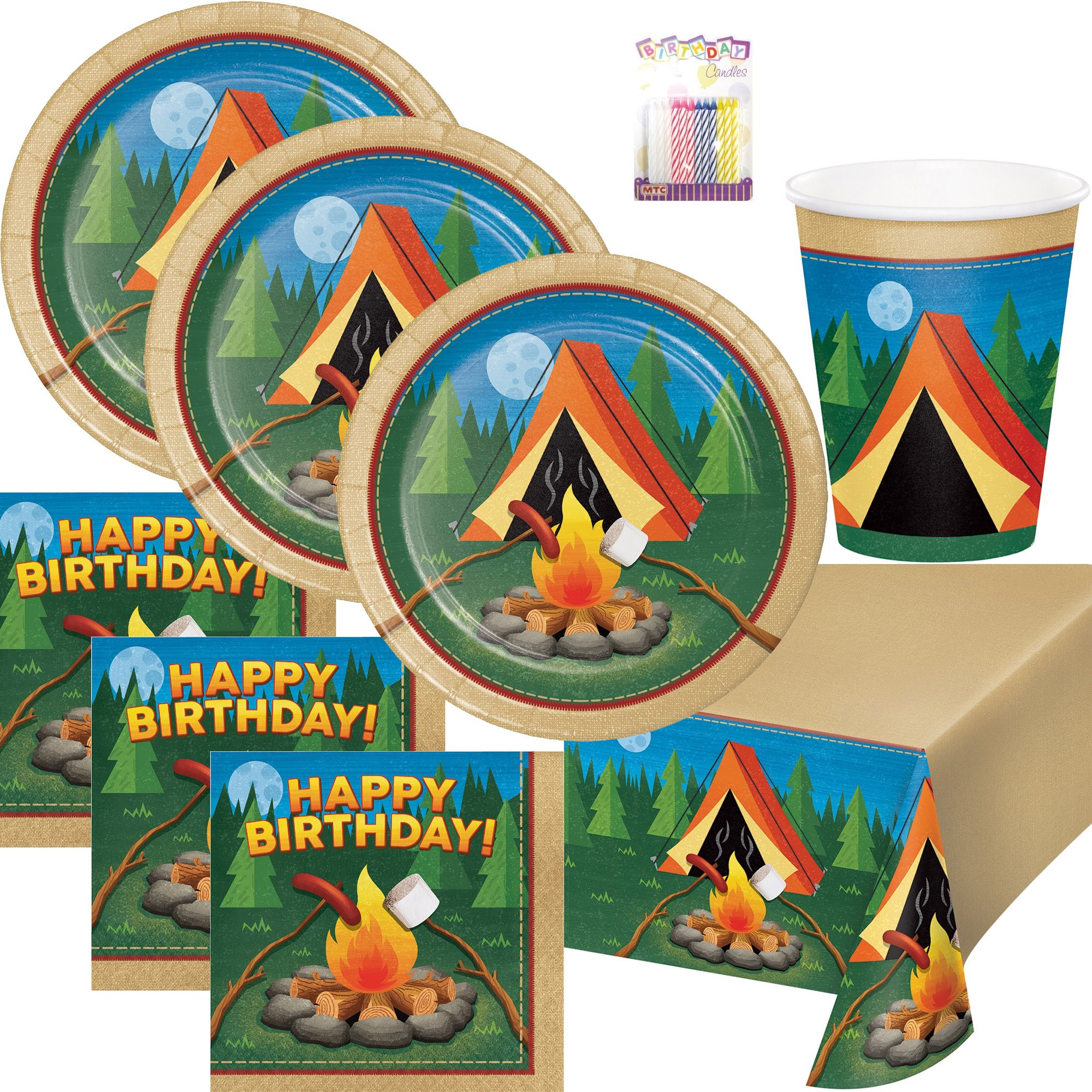 Camp Out Camping Theme Birthday Party Supplies Pack Serves 16: Dinner Plates, Luncheon Napkins, Cups, Table Cover and Birthday Candles by Lobyn Value Packs