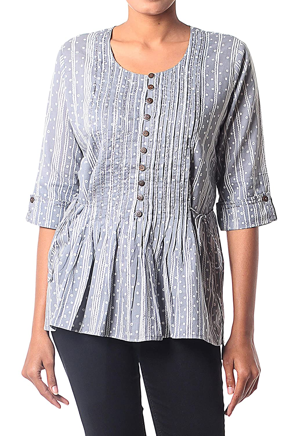 NOVICA Grey and White Cotton Blouse, 'Dancing Bubbles in Grey'