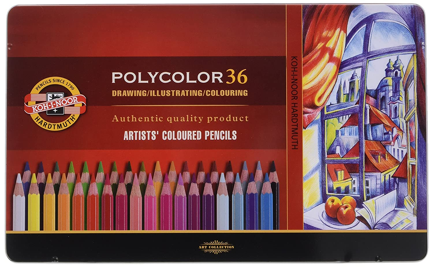 Koh I Noor 3825 Polycolor Artist's Coloured Pencils   Assorted Colour (Set Of 36) by Koh I Noor