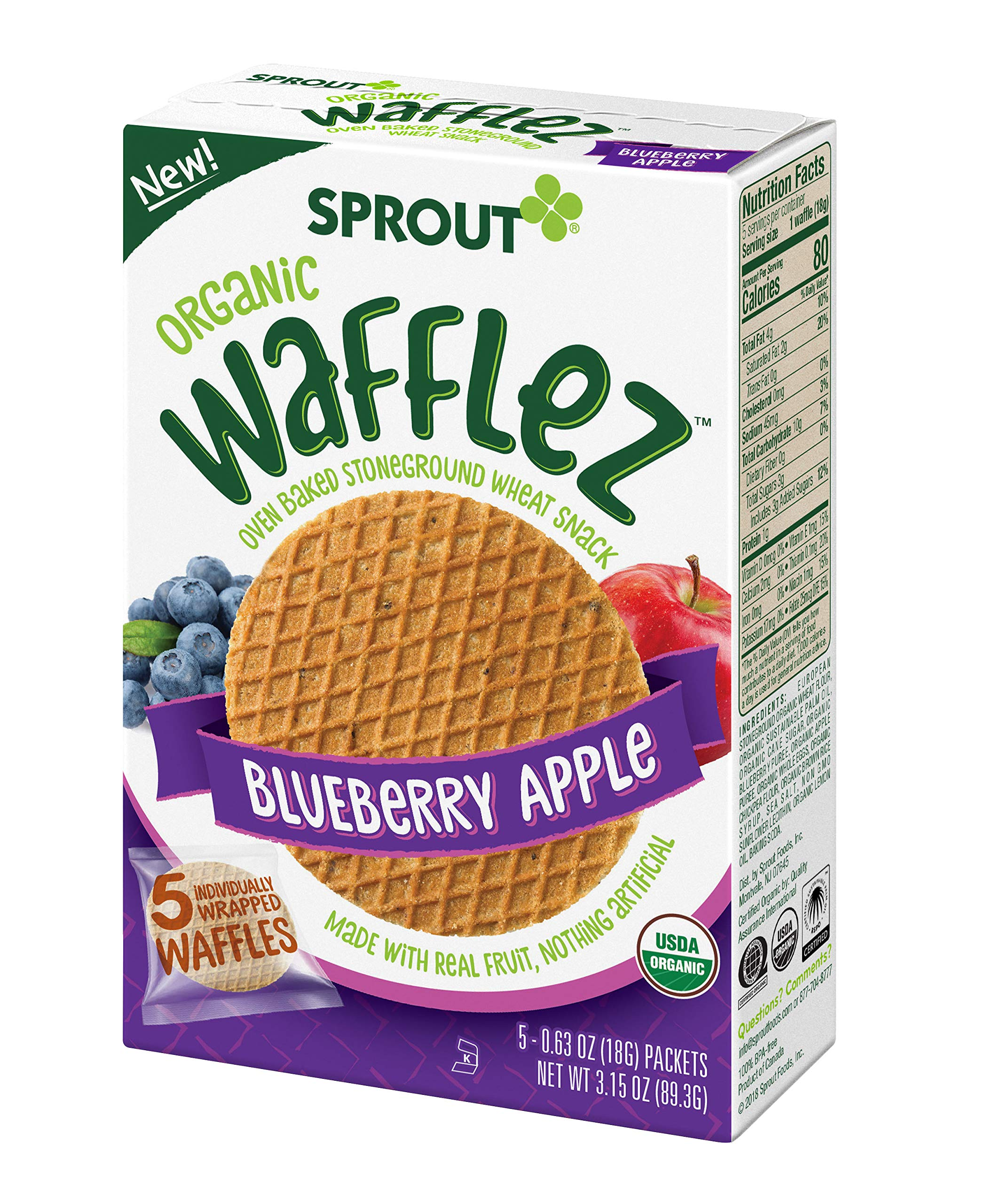 Sprout Organic Wafflez, Blueberry Apple, Box of 5 Toddler Snacks (Pack of 4) by Sprout