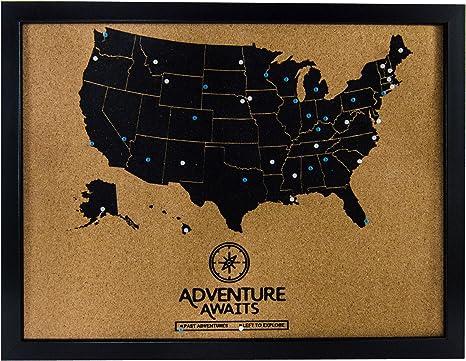 Art of Wanderlust - Pushpin - Pizarra de Corcho con Mapa de Estados Unidos y Pines, diseño de mapamundi de Viaje, para Hacer un Seguimiento de los destinos del Cubo Pasado y