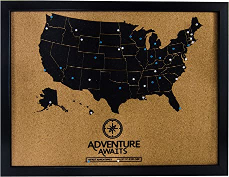 Us Map On Cork Board Amazon.: Pushpin Cork Board USA Map and Pins | US Travel