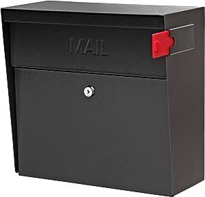 Mail Boss 7162 Metro, Black High Capacity Wall Mounted Locking Security Mailbox