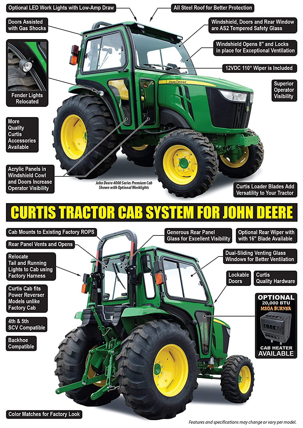 Amazon com : Curtis Premium All Steel Cab for John Deere