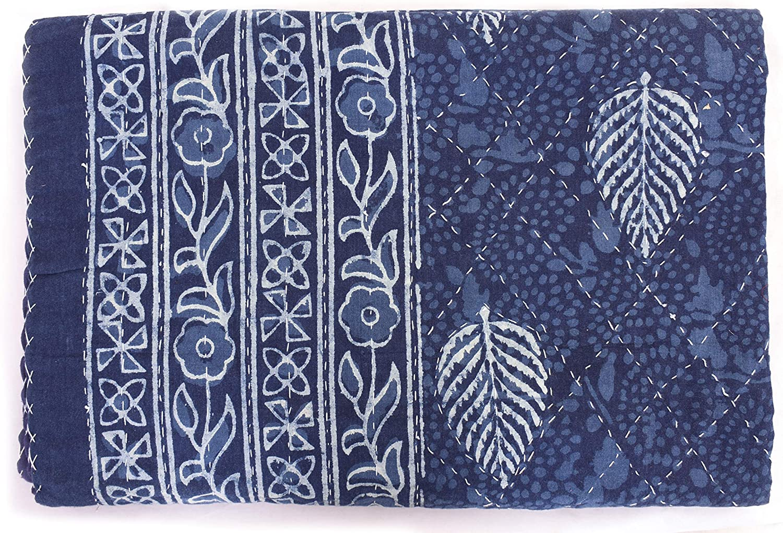 Sophia-Art Indian Cotton Kantha Quilt Indigo Blue Bohemian Floral Bedding Bedspread Hippie Throw Blanket Handmade Quilt
