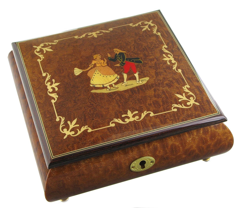 Boîte à bijoux musicale en bois avec marqueterie danseurs - Berceuse de Brahms Lutèce Créations