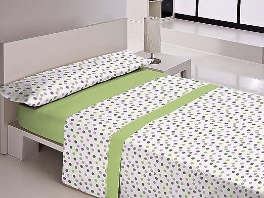 Libela barbate juego de sábanas 3 piezas, 50% algodón 50% poliéster, verde cama 135x190/200: Amazon.es: Hogar