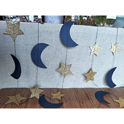 Furuix Moon And Star Garland Of 2pcs Navy Gold Outer Space Birthday