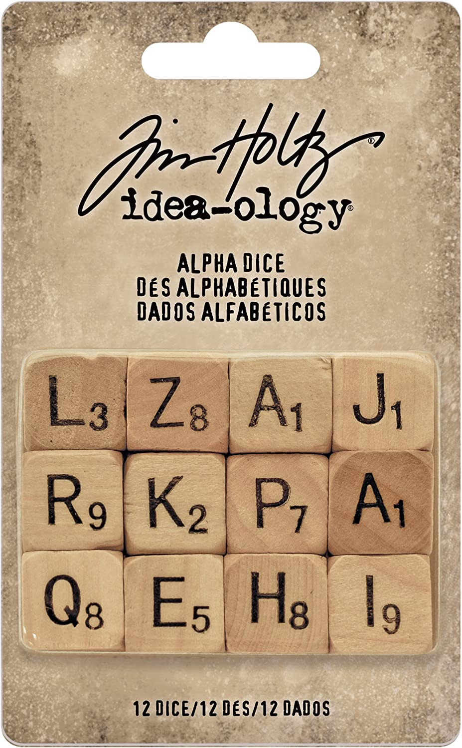 Tim Holtz Idea-ology Alpha Dice Wooden Cubes Displaying Letters Of The Alphabet