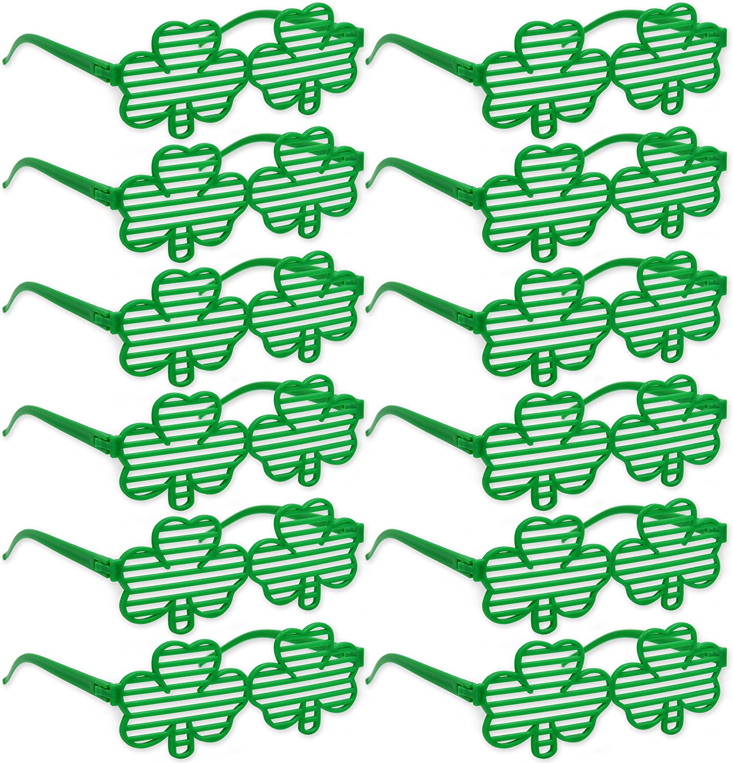 108 St Patricks Day Party Favors Supplies Set Includes 12 Shamrock Sunglasses 12 Shamrock Necklaces 12 Shamrock Bracelets and 72 Saint Patrick Temporary Tattoos Irish Green Supplies Accessories Toys
