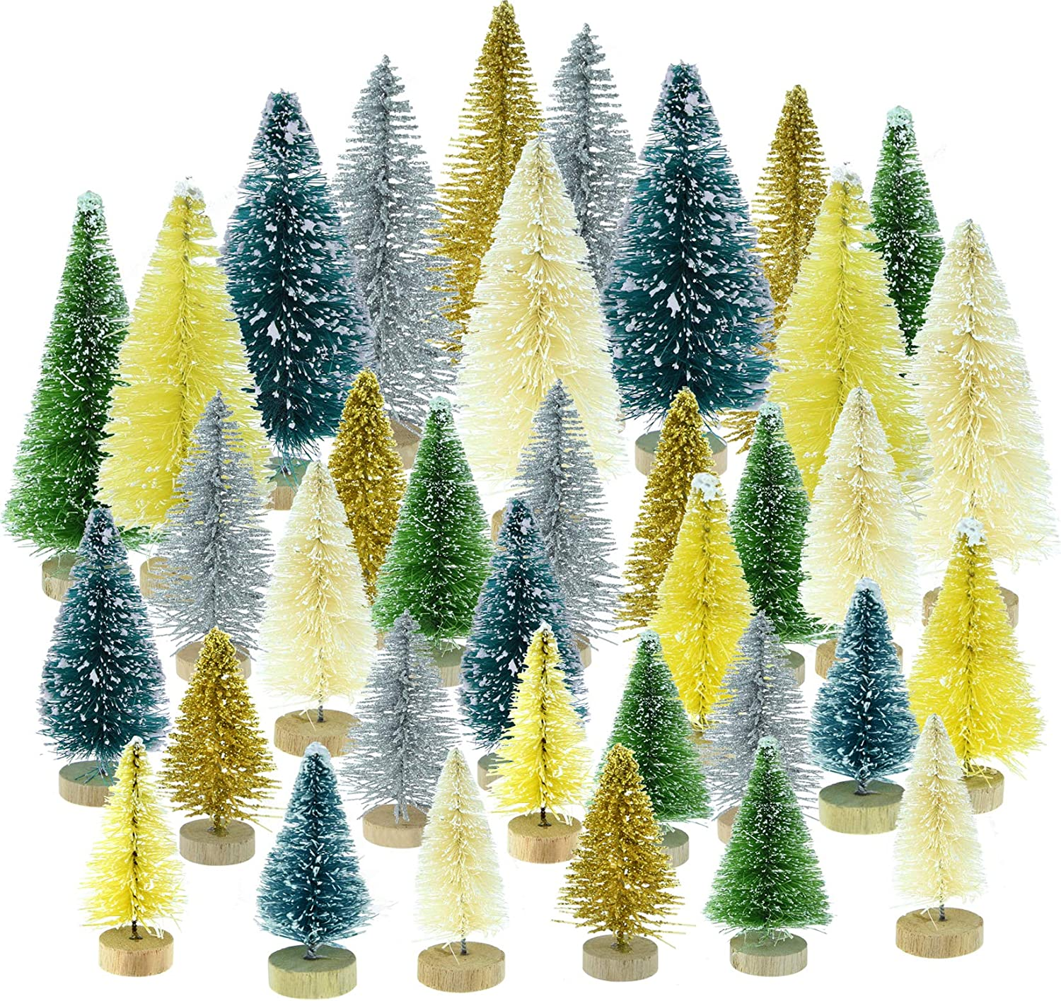 Topbuti 36 Pcs Mini Christmas Trees Bottle Brush Trees Sisal Snow Frost Trees Diorama Tree Pine Trees with Wood Base Green Mini Wreaths for Christmas Decoration Home DIY Décor Crafts Assorted Color