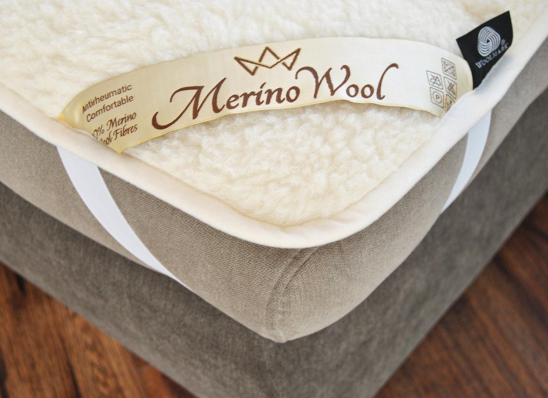 reversible mattress topper 100 merino lamswool u0026 cotton pad king size 160 x 200 cm natural product amazoncouk kitchen u0026