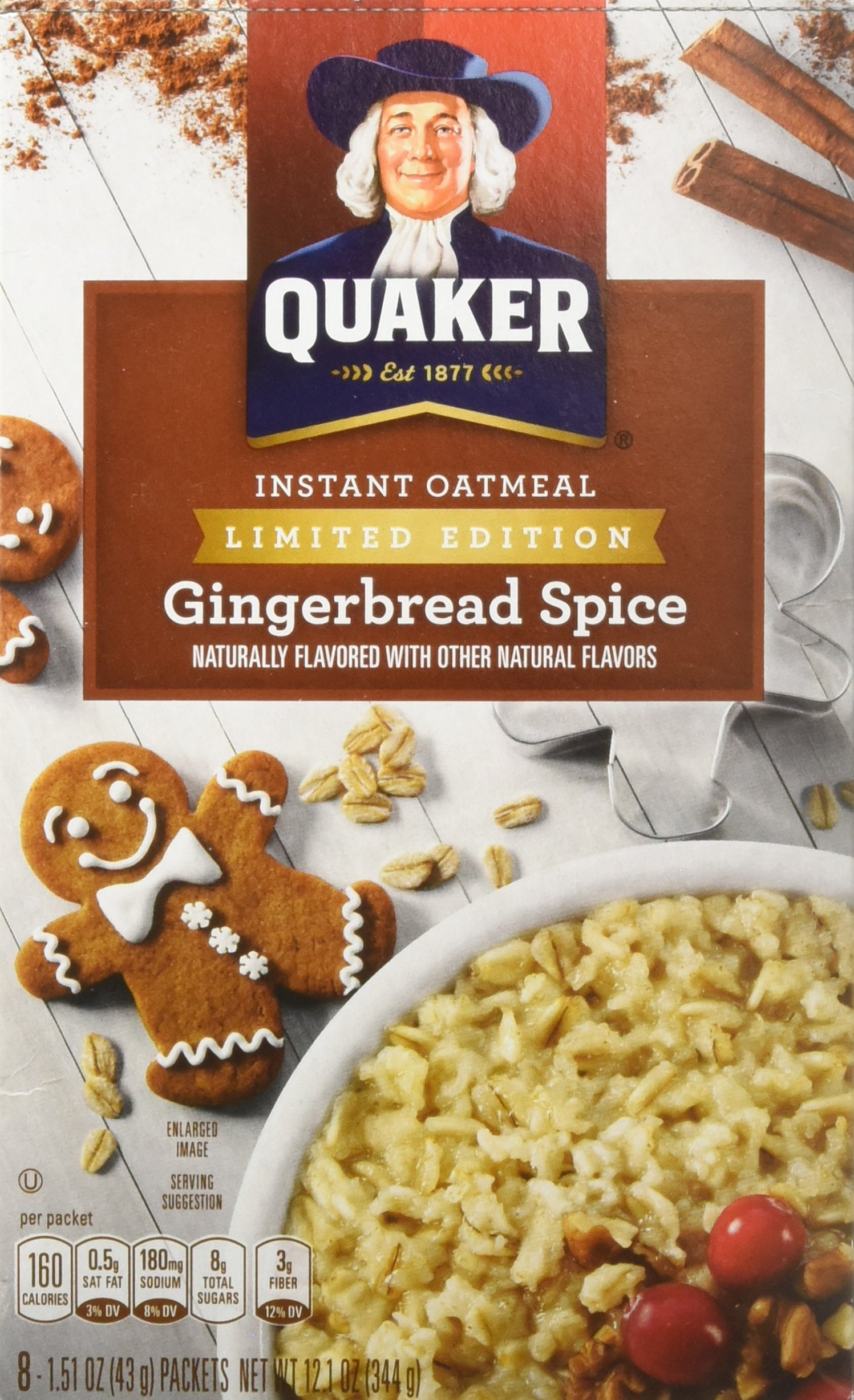 Quaker Instant Oatmeal, Gingerbread Spice, 12.1 Ounce, 8 count, (Pack of 12)