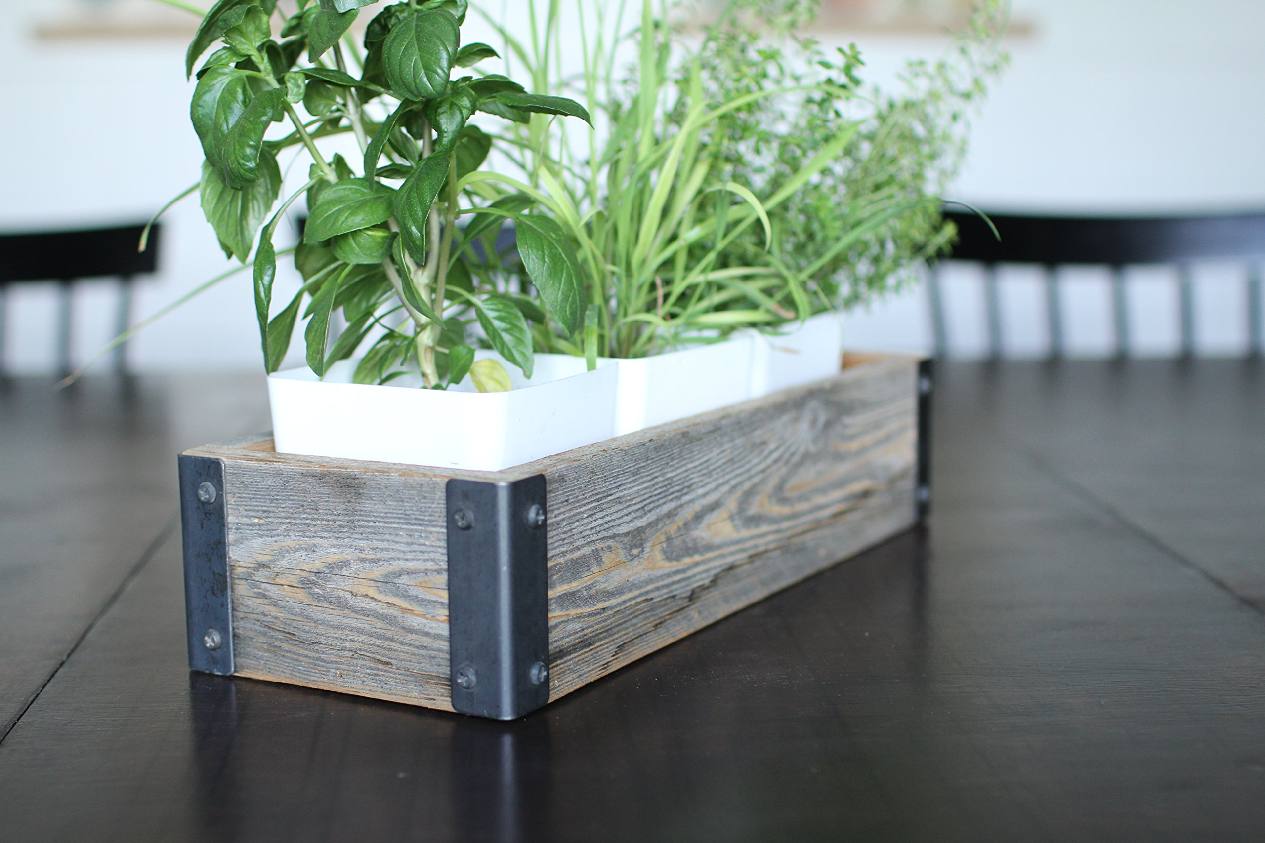 My Barnwood Frames - Reclaimed Wood Planter Box with Metal Brackets (Small - 14.5'')