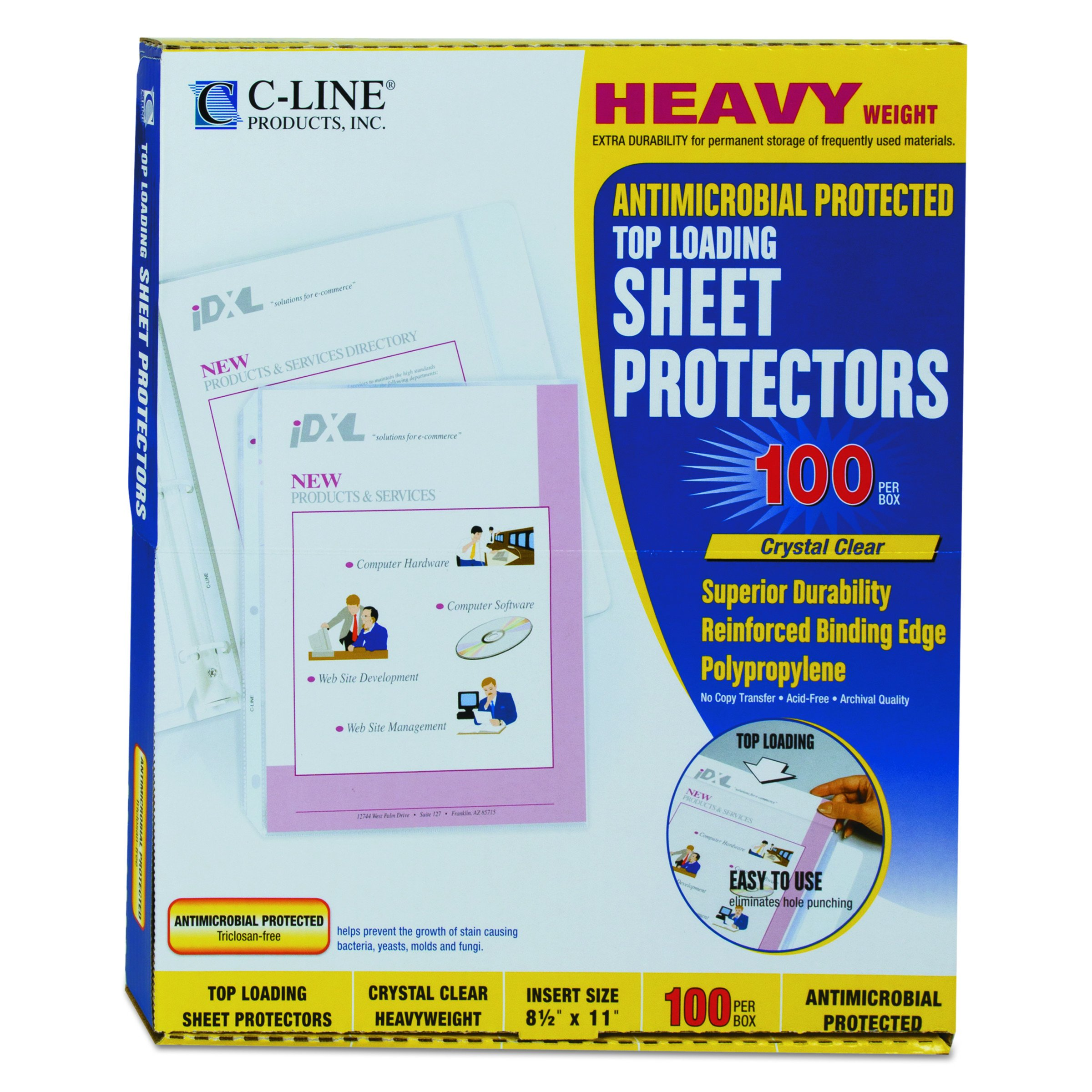 C-Line Clear Top-Loading Heavyweight Antimicrobial Poly Sheet Protectors, 8.5 x 11 Inches, 100 per Box (62033)