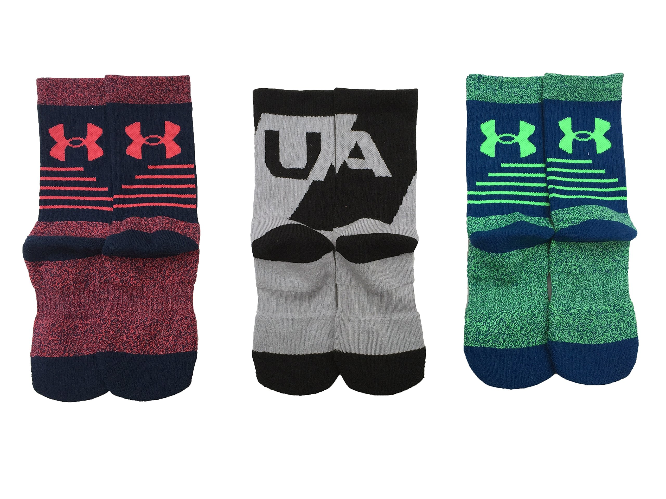 Under Armour Boy`s UA Phenom Crew Socks 3 Pack (Youth Large (Youth Shoe Size 1-4), Heather Grey (UL399) / Heather Green/Heather Bardo) by Under Armour