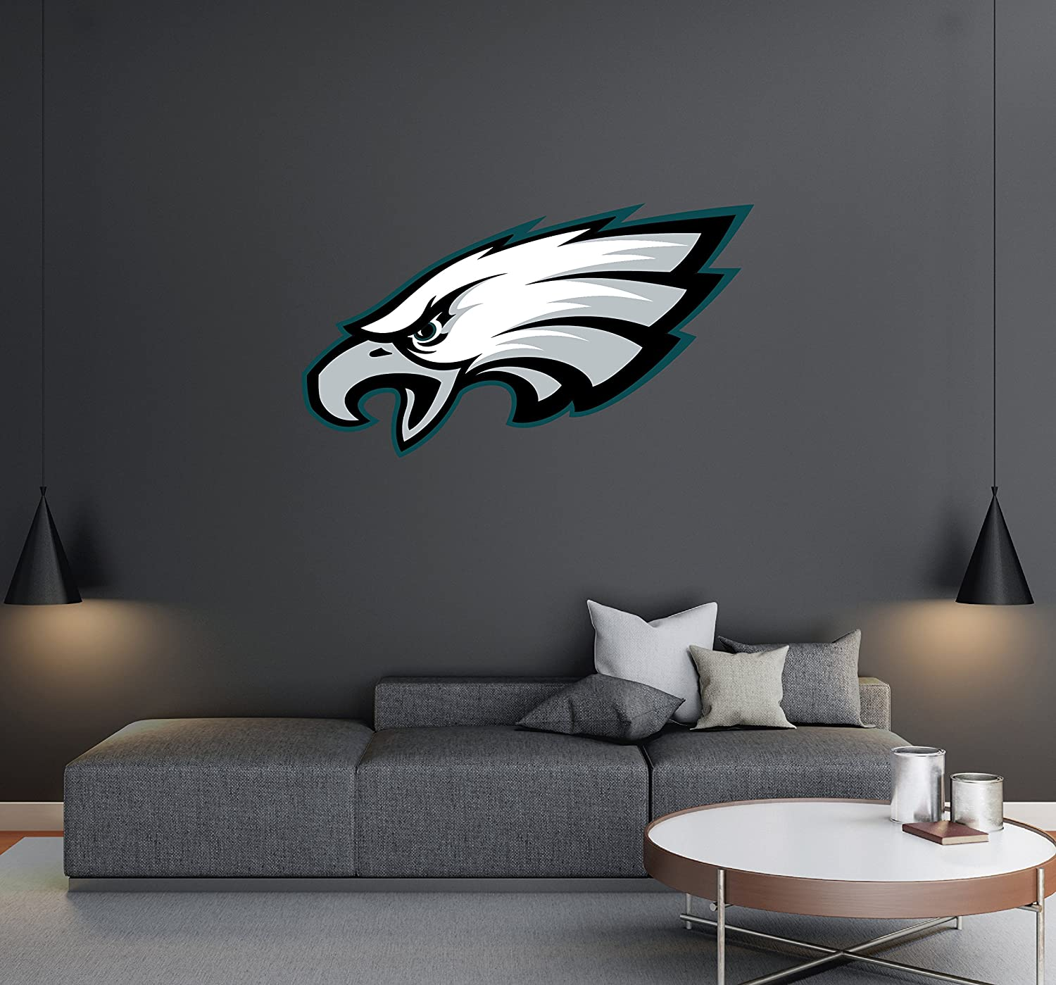 "Philadelphia Eagles - Football Team Logo - Wall Decal Removable & Reusable For Home Bedroom (Wide 20""x11"" Height)"