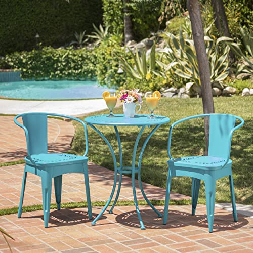 Leona Outdoor Iron 3 Piece Bistro Set Matte Teal