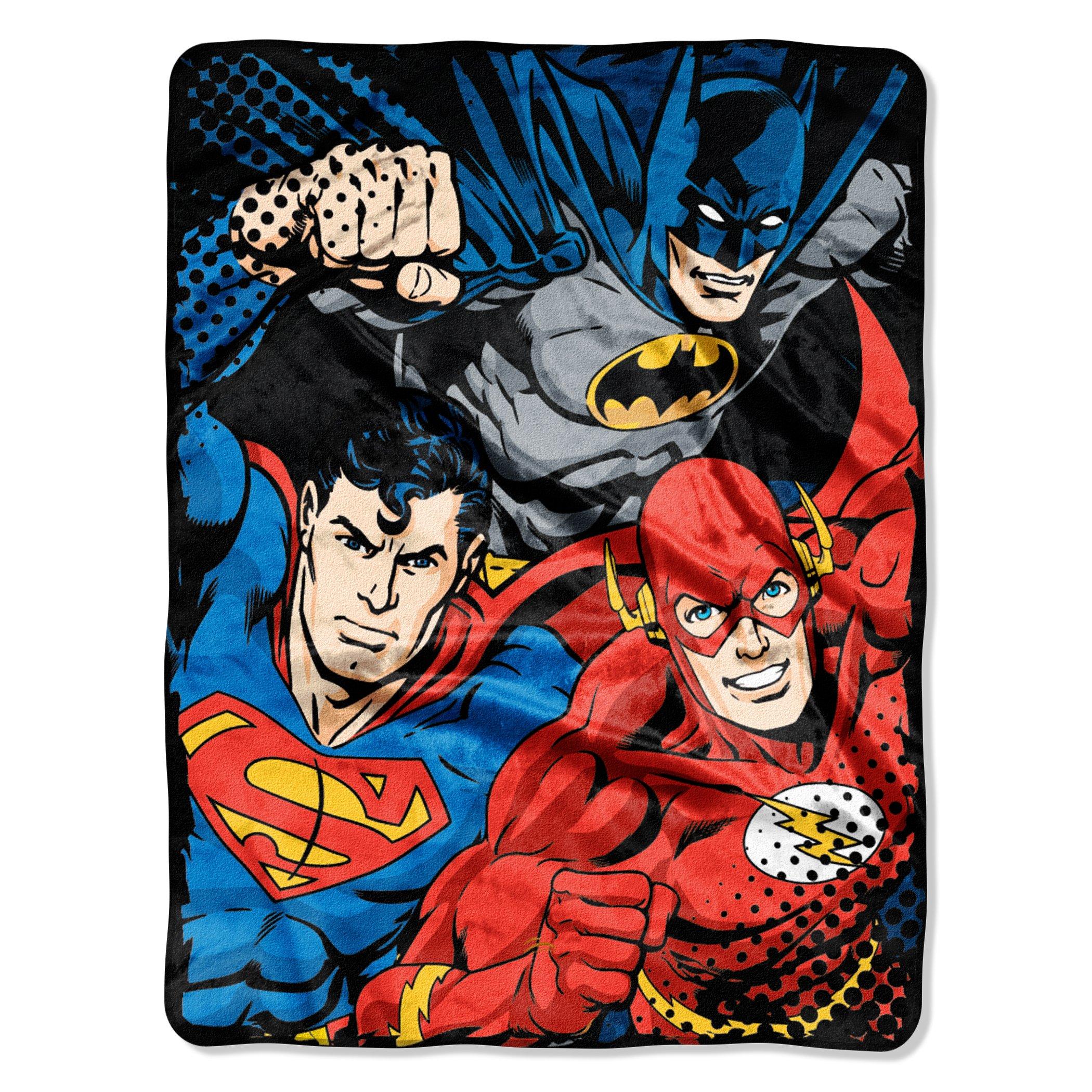 Warner Brothers DC Comics Justice League, ''League Trio'' Micro Raschel Throw Blanket, 46'' x 60'', Multi Color