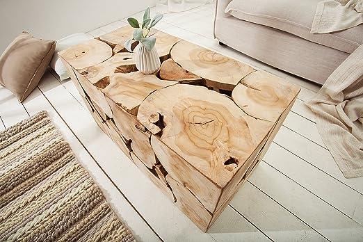 Dunord Design Table De Tronc D Arbre En Bois De Teck Massif Table