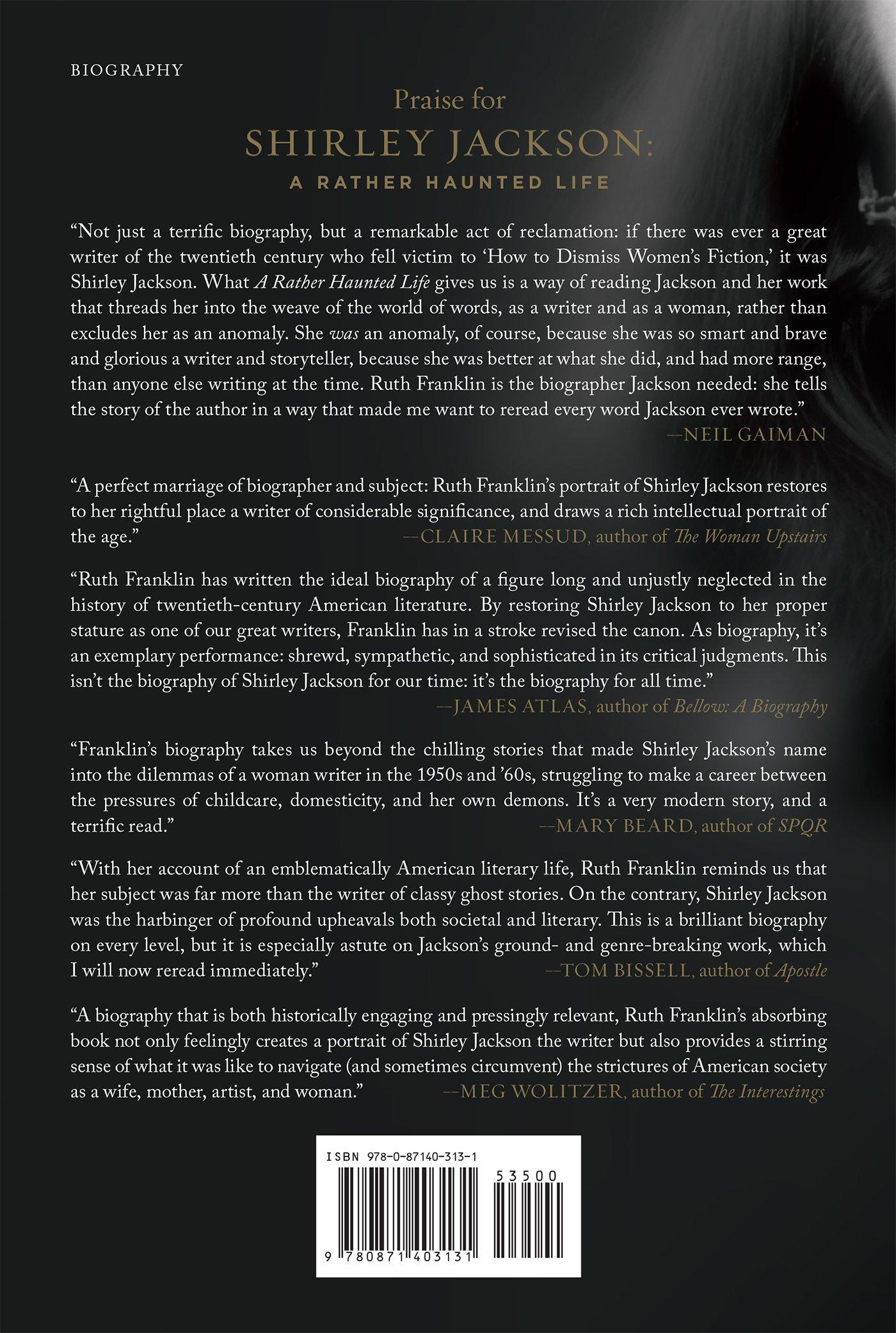 shirley jackson a rather haunted life ruth franklin shirley jackson a rather haunted life ruth franklin 9780871403131 amazon com books