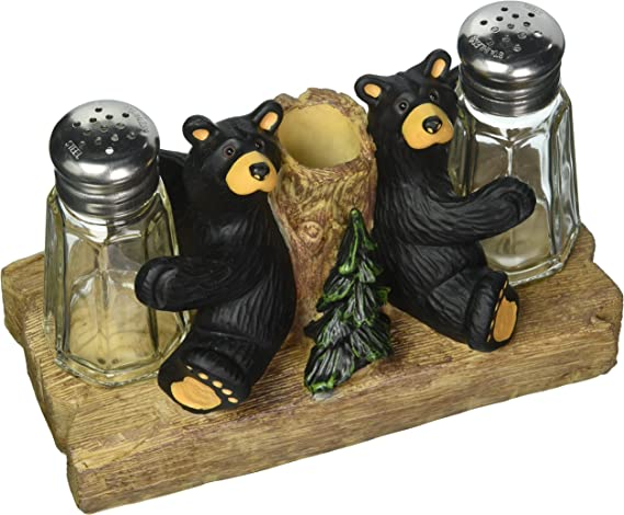 Amazon Com Demdaco Black Bear Friends Resin Salt And Pepper Shakers And Toothpick Holder Salt And Pepper Shaker Sets Kitchen Dining