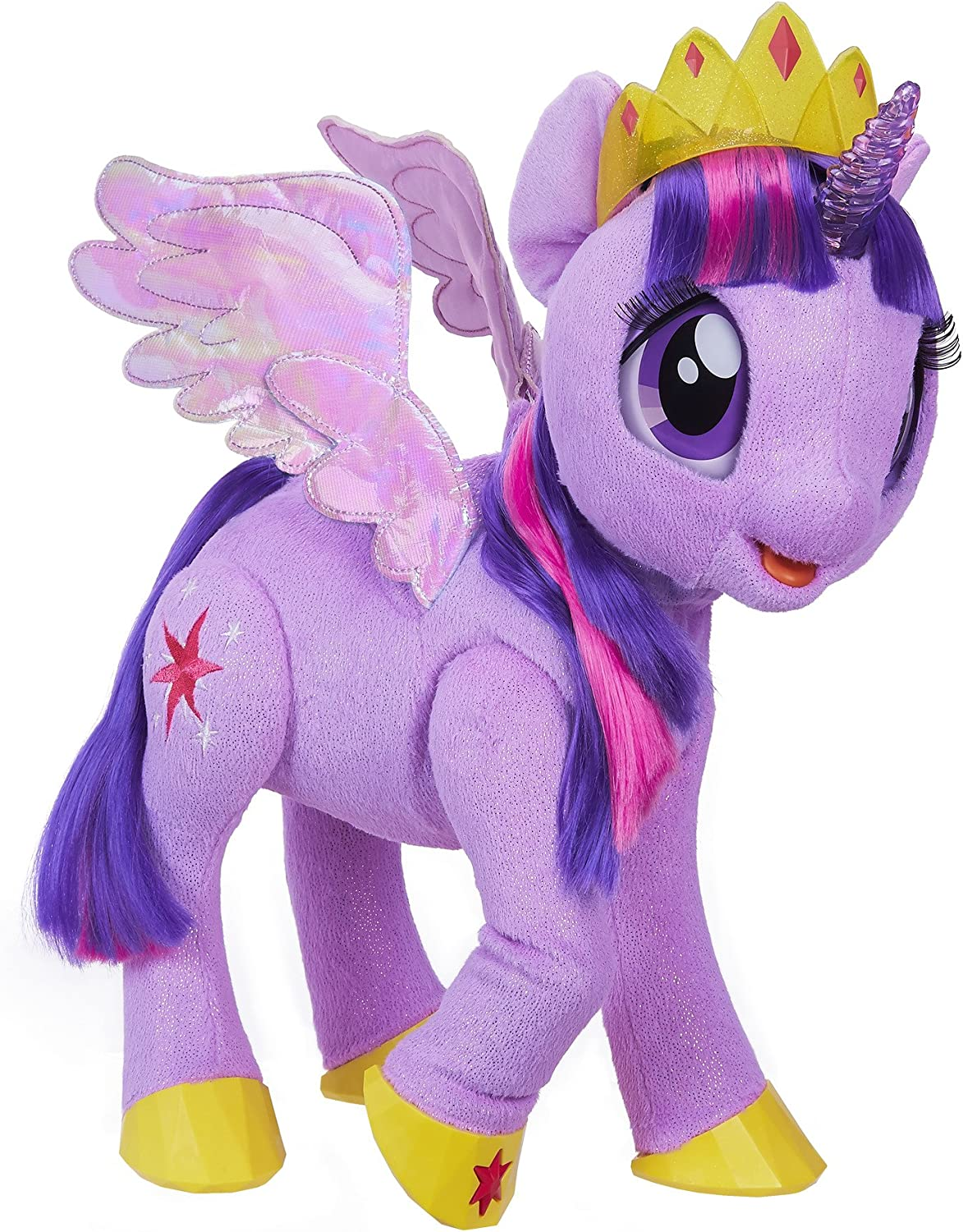 Amazon Com My Little Pony Movie Toy Magical Princess Twilight Sparkle Interactive Plush Says 90 Phrases Toys Games
