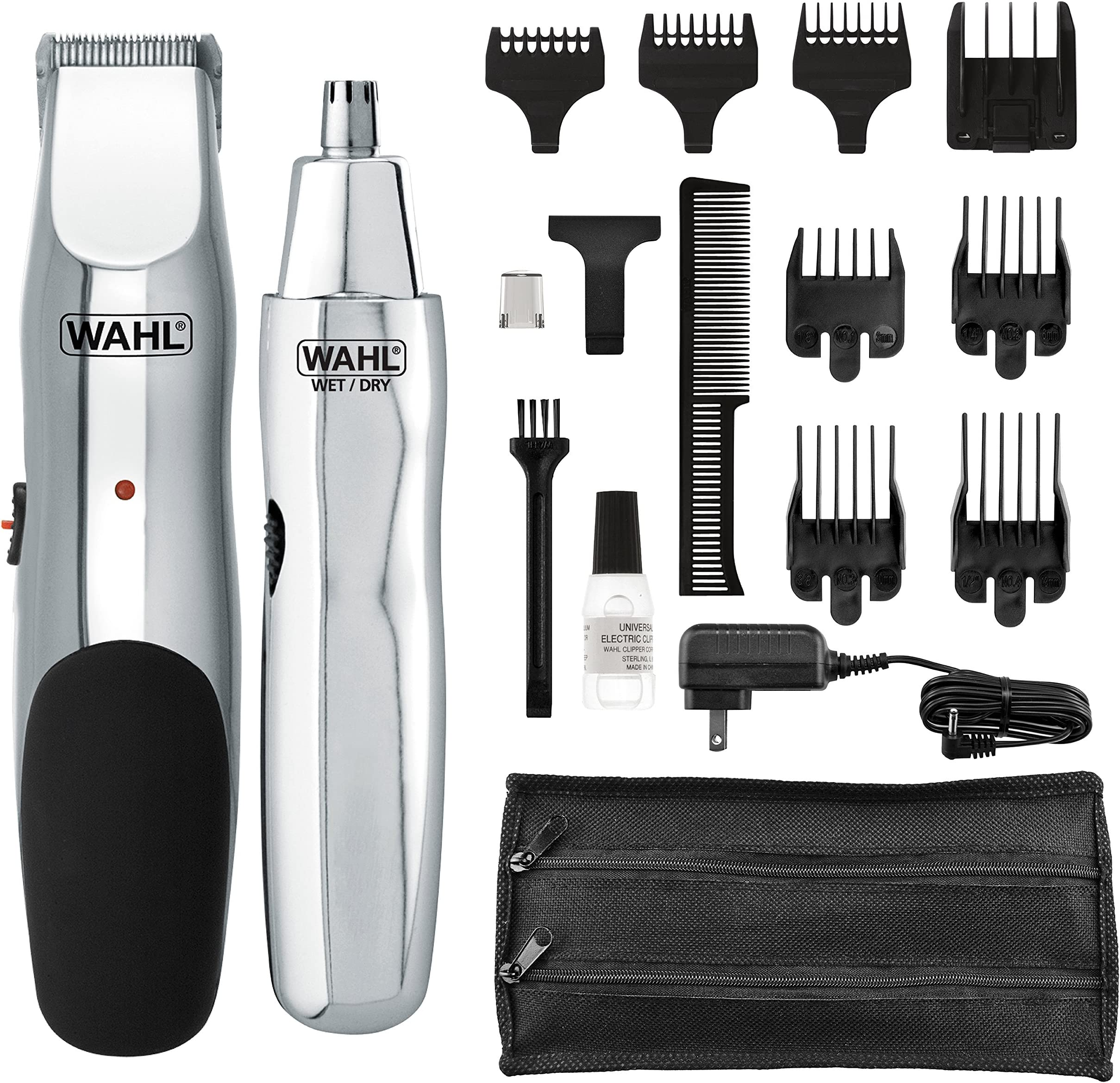 amazon com beard \u0026 mustache trimmers beauty \u0026 personal care  wahl groomsman rechargeable beard trimmer for beard, mustache, stubble with self sharpening blades and