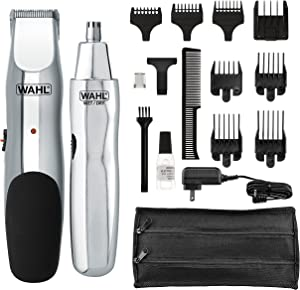 WAHL 5622 Groomsman Rechargeable Beard, Mustache, Hair & Nose Hair Trimmer for Detailing & Grooming, Black