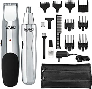 Wahl Groomsman Rechargeable Beard Trimmer for Beard Mustache Stubble with self Sharpening Blades and Bonus Nose Trimmer (# 05622)