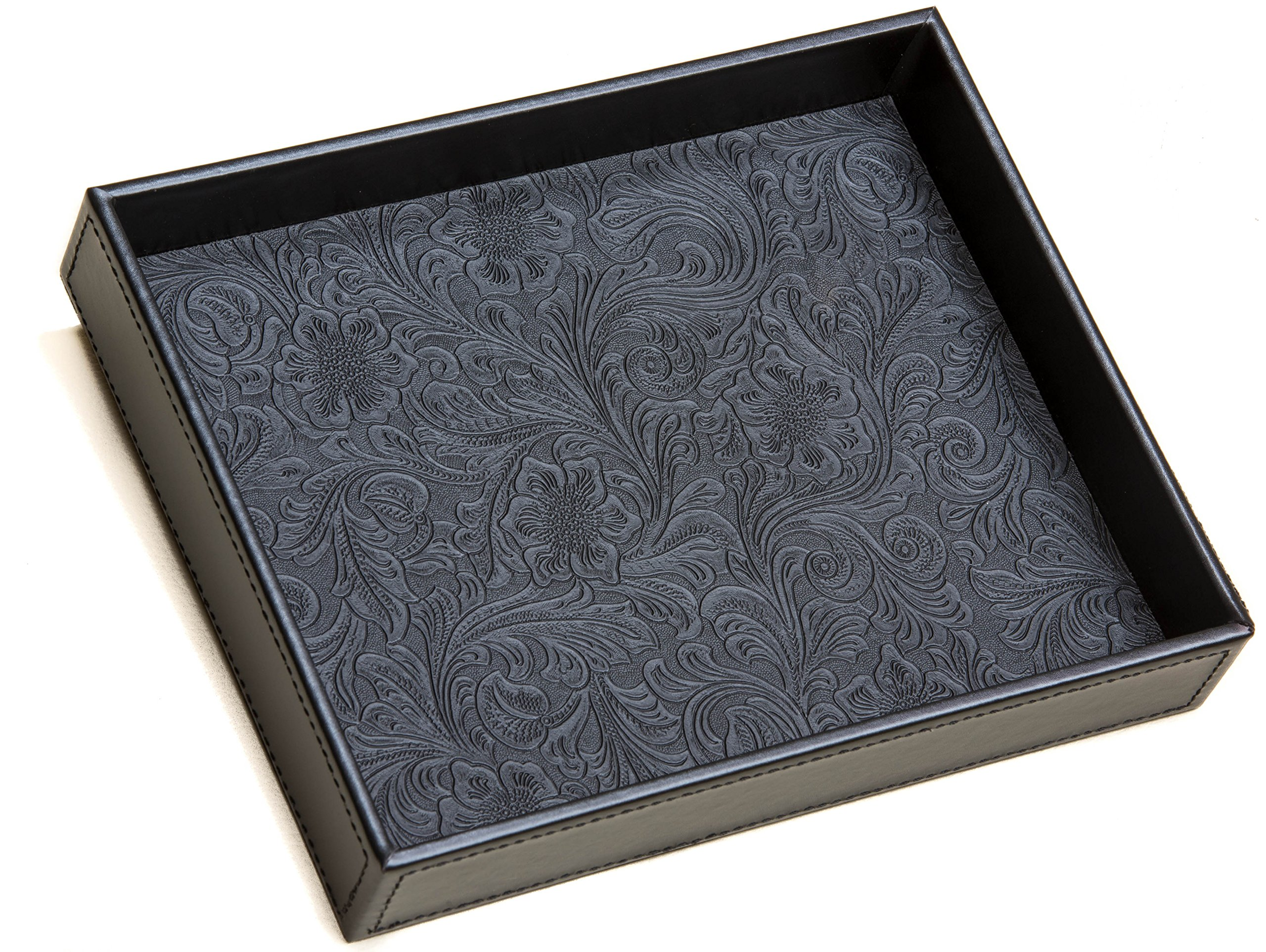 ''Yankee Rose'' Valet Tray Organizer by Affable Jack - Decorative Black Catchall for Home and Office