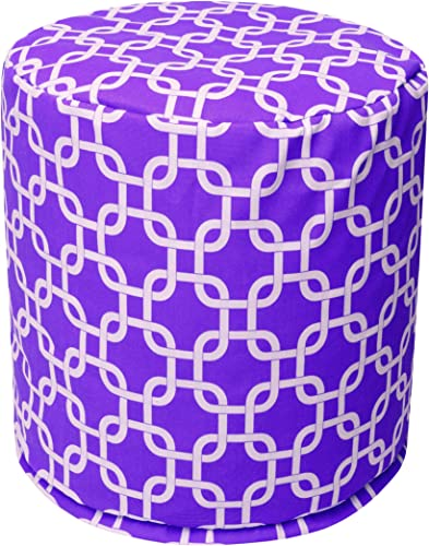 Majestic Home Goods Purple Links Indoor Bean Bag Ottoman Pouf 16″ L x 16″ W x 17″ H