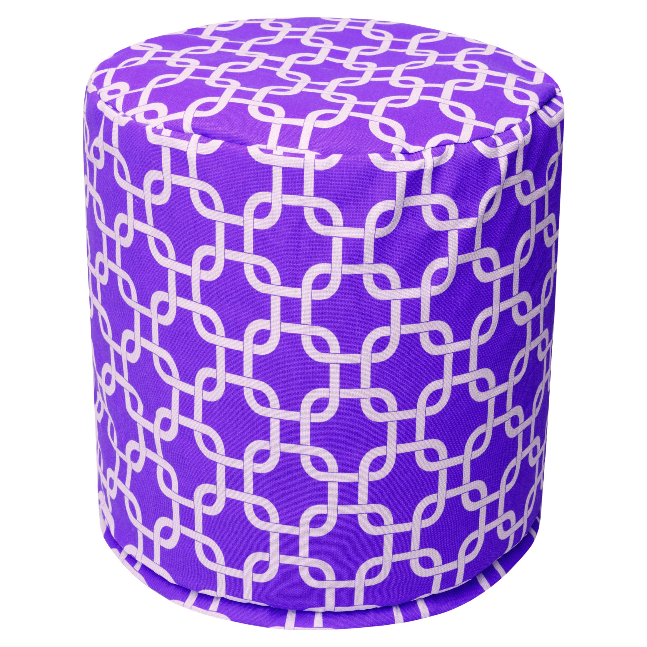 Majestic Home Goods Purple Links Indoor Bean Bag Ottoman Pouf 16'' L x 16'' W x 17'' H