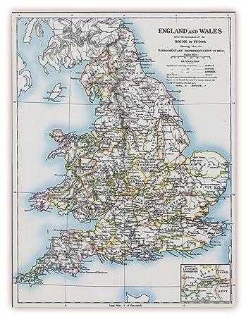 Xxl Poster 100 X 70 Cm K 710 Alte Landkarte England Und Wales Um